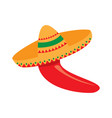 isolated red pepper with a mexican hat vector image