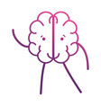 line cute brain kawaii with arms and legs vector image