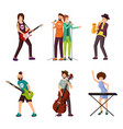 music artists flat characters set vector image