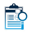 office clipboard document and magnifying glass vector image vector image