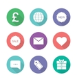Online shop flat design icons set vector image