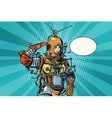 Retro woman salutes astronaut or deep sea diver vector image vector image