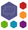 school bus icons hexahedron vector image vector image