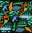 seamless pattern with frog forest pattern vector image