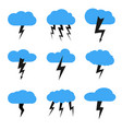 set of nine clouds with a thunderstorm vector image vector image