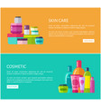 skincare cosmetic online advertisement pages set vector image vector image