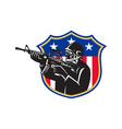 soldier swat policeman rifle shield vector image vector image