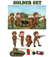 Soldiers with gun in the field vector image vector image