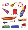 summer vacation accessories flat vector image