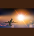 takeoff plane in cloudy sky on the sunset vector image vector image