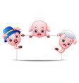 three little pigs cartoon with blank sign vector image vector image