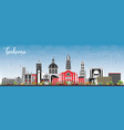 toulouse france city skyline with color buildings vector image vector image