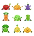 Vegetables Cute Girly Characters Sitting And vector image vector image
