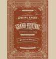 vintage retro festival poster background vector image vector image