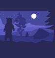 walking bear in forest mountain camp at night vector image vector image