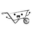 wheelbarrow flat icon monochrome cartoon blurred vector image