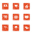 winter house icons set grunge style vector image