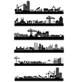 Construction site skyline set vector image