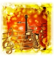 treble clef and a saxophone guitar bright vector image