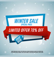 winter sale origami banner with red ribbon vector image
