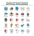 artificial intelligence flat line icon set vector image vector image