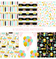 birthday trendy seamless patterns vector image vector image