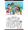 boys and girls characters group color book vector image vector image