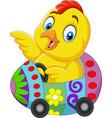 cartoon baby chick riding an easter egg car vector image vector image