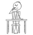 cartoon man sitting behind desk and thinking vector image vector image