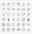casino line icons set vector image vector image