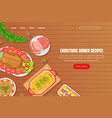 christmas dinner recipes landing page template vector image