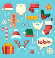 christmas photo booth props santa hat and beard vector image vector image