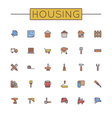 Colored Housing Line Icons vector image vector image