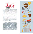 cooking poster of chef cook utensils vector image vector image