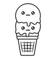 cute ice cream kawaii character vector image vector image