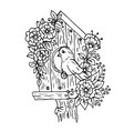 doodle cartoon birdhouse with flowers and a bird vector image vector image