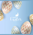 easter eggs on blue background vector image vector image