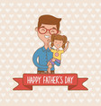 father and daughter characters card vector image vector image
