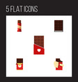 Flat icon bitter set of sweet chocolate shaped vector image