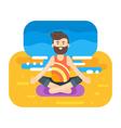 flat style of bearded man doing yoga vector image