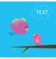 Flying bird and baby bird Card vector image