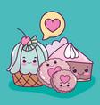 food cute dessert cupcake cookies and cake love vector image vector image