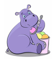 Funny hippo eating ice cream vector image vector image