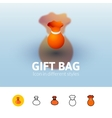 Gift bag icon in different style vector image vector image