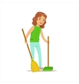 Girl Cleaning Up With Broom And Duster Helping In vector image vector image