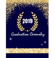 graduation ceremony banner with golden laurel vector image
