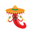 happy pepper with maracas and a hat vector image