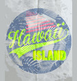 hawaii summer t-shirt print design vector image vector image