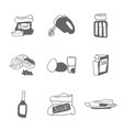 inventory and products for cooking doodles vector image