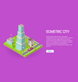 isometric city web banner vector image